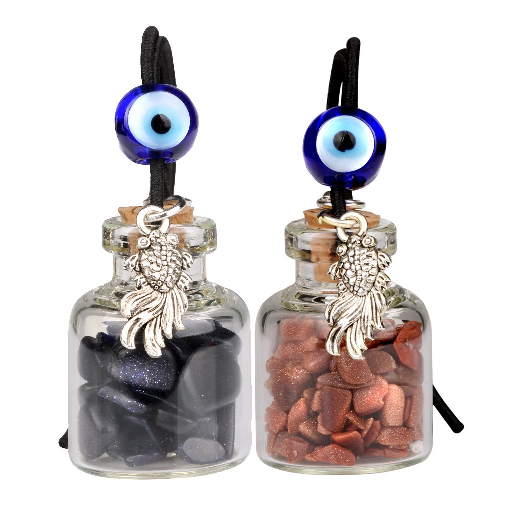 Fortune Fish Small Car Charms or Home Decor Gem Bottles Blue and Red Goldstone Protection Amulets
