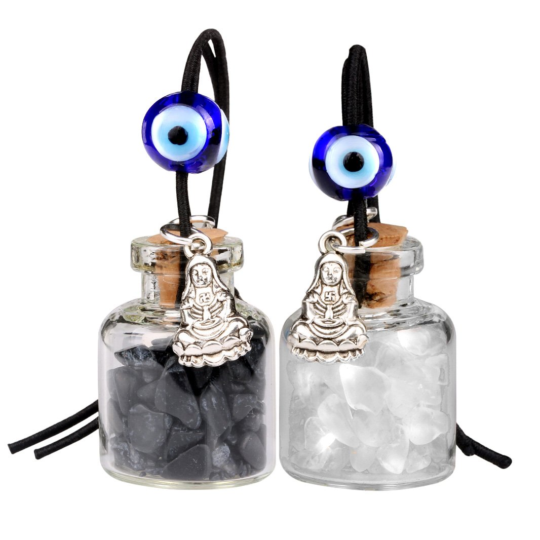 Kwan Yin Quan Small Car Charms Home Decor Gem Bottles Crystal Quartz Black Obsidian Amulets