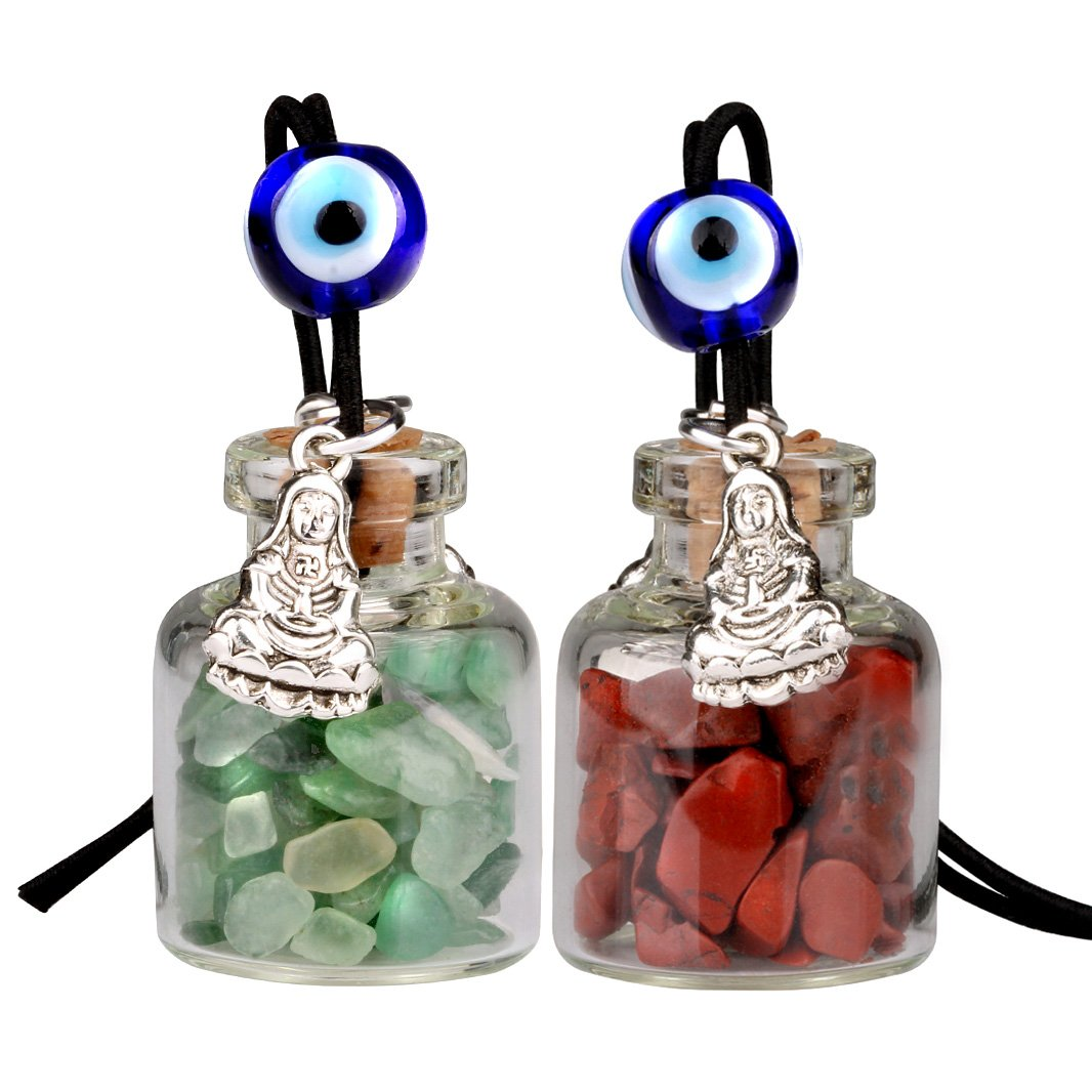 Kwan Yin Quan Small Car Charms Home Decor Gem Bottles Green Quartz Red Jasper Protection Amulets