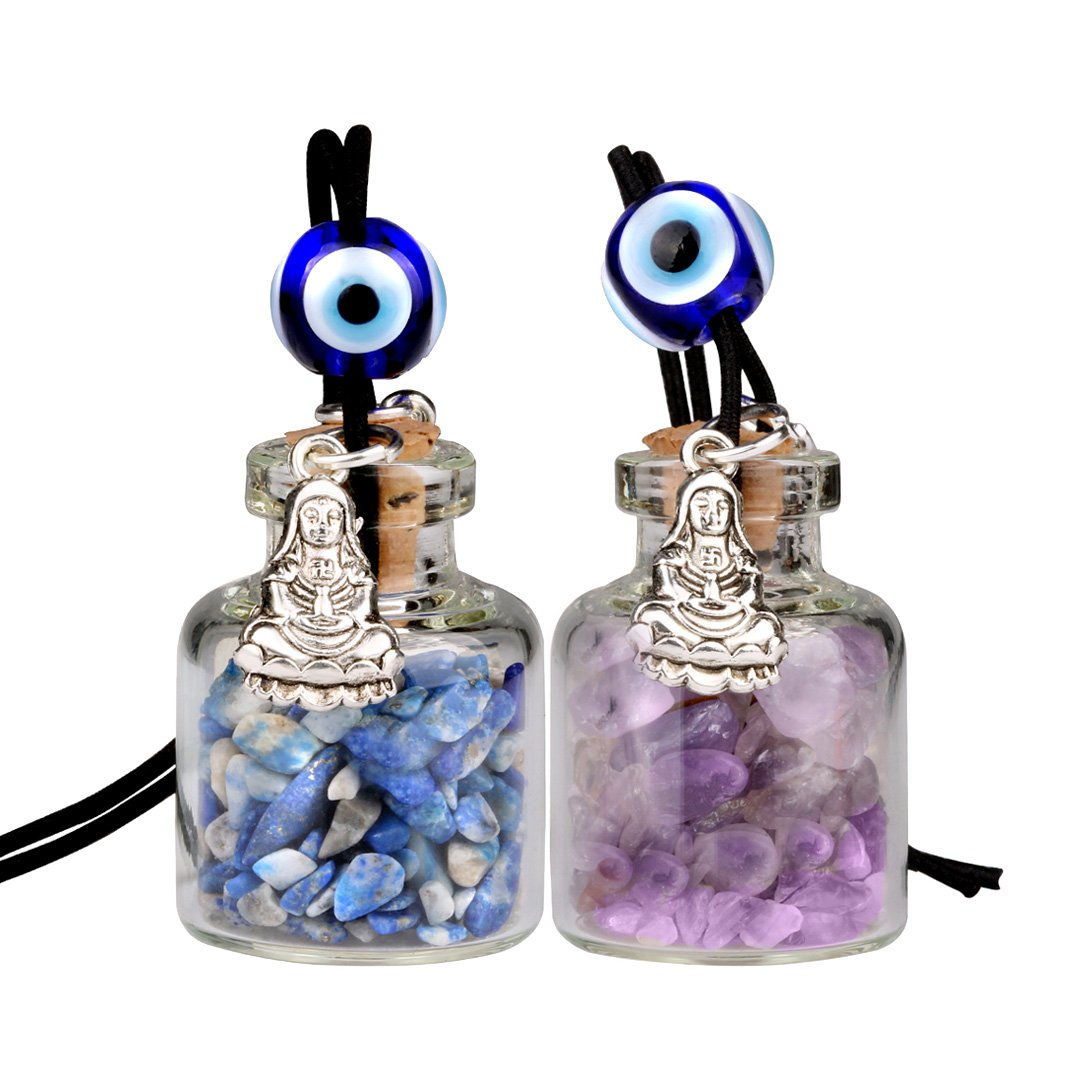 Kwan Yin Quan Small Car Charms Home Decor Gem Bottles Amethyst Lapis Lazuli Protection Amulets