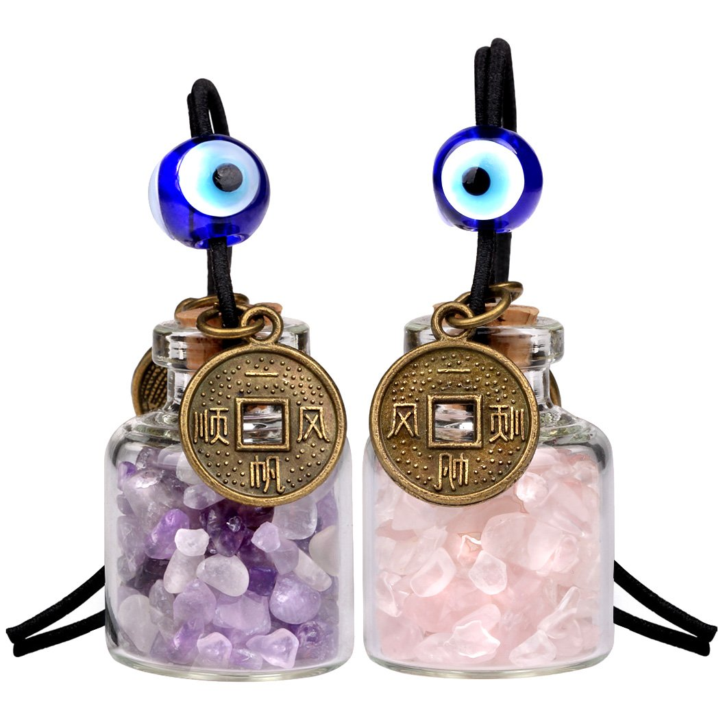 Lucky Coins Magic Small Car Charms Home Decor Gem Bottles Rose Quartz Lapis Lazuli Amulets