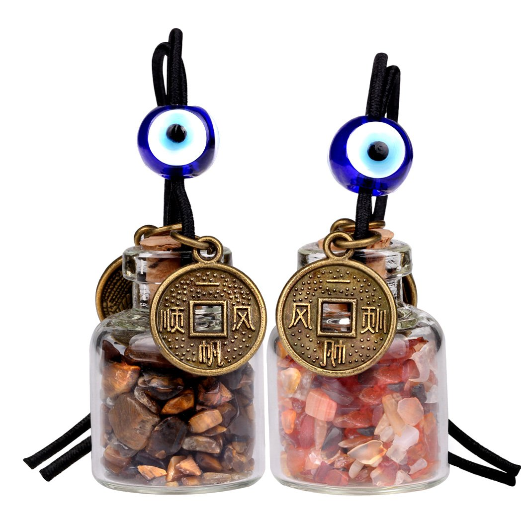 Lucky Coins Magic Small Car Charms Home Decor Gem Bottles Carnelian Tiger Eye Protection Amulets