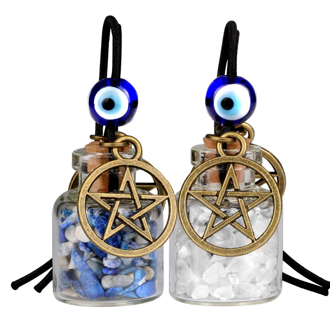 Star Magic Pentacle Small Car Charms Home Decor Gem Bottles Quartz Lapis Lazuli Protection Amulets