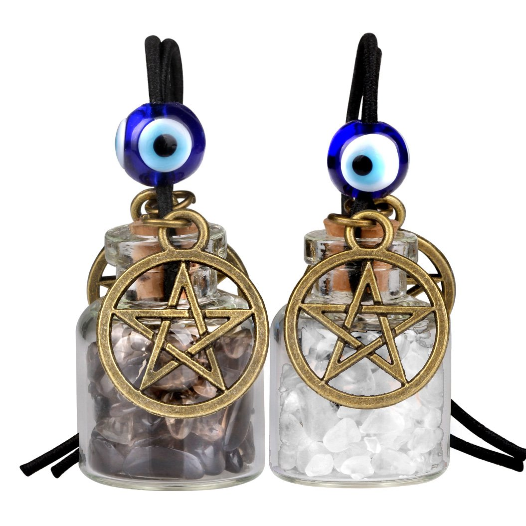 Star Magic Pentacle Small Car Charms Home Decor Gem Bottles Crystal Smoky Quartz Protection Amulets