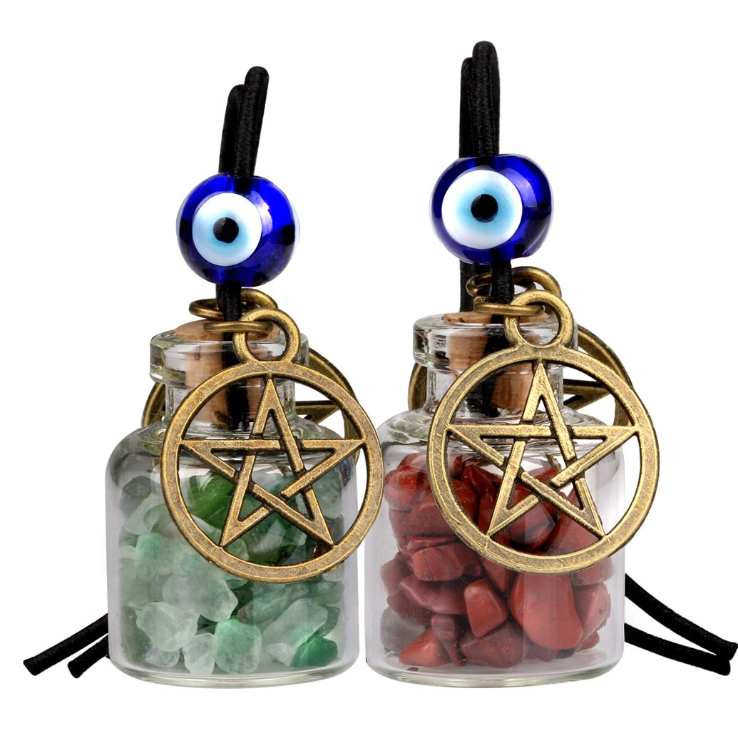 Star Magic Pentacle Small Car Charms Home Decor Bottles Green Quartz Red Jasper Protection Amulets
