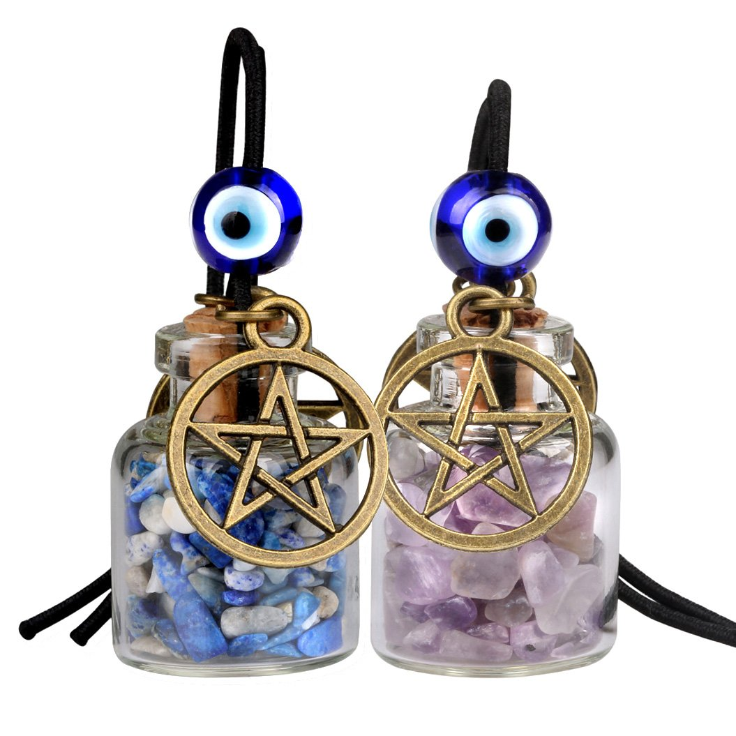 Star Magic Pentacle Small Car Charms Home Decor Bottles Amethyst Lapis Lazuli Protection Amulets