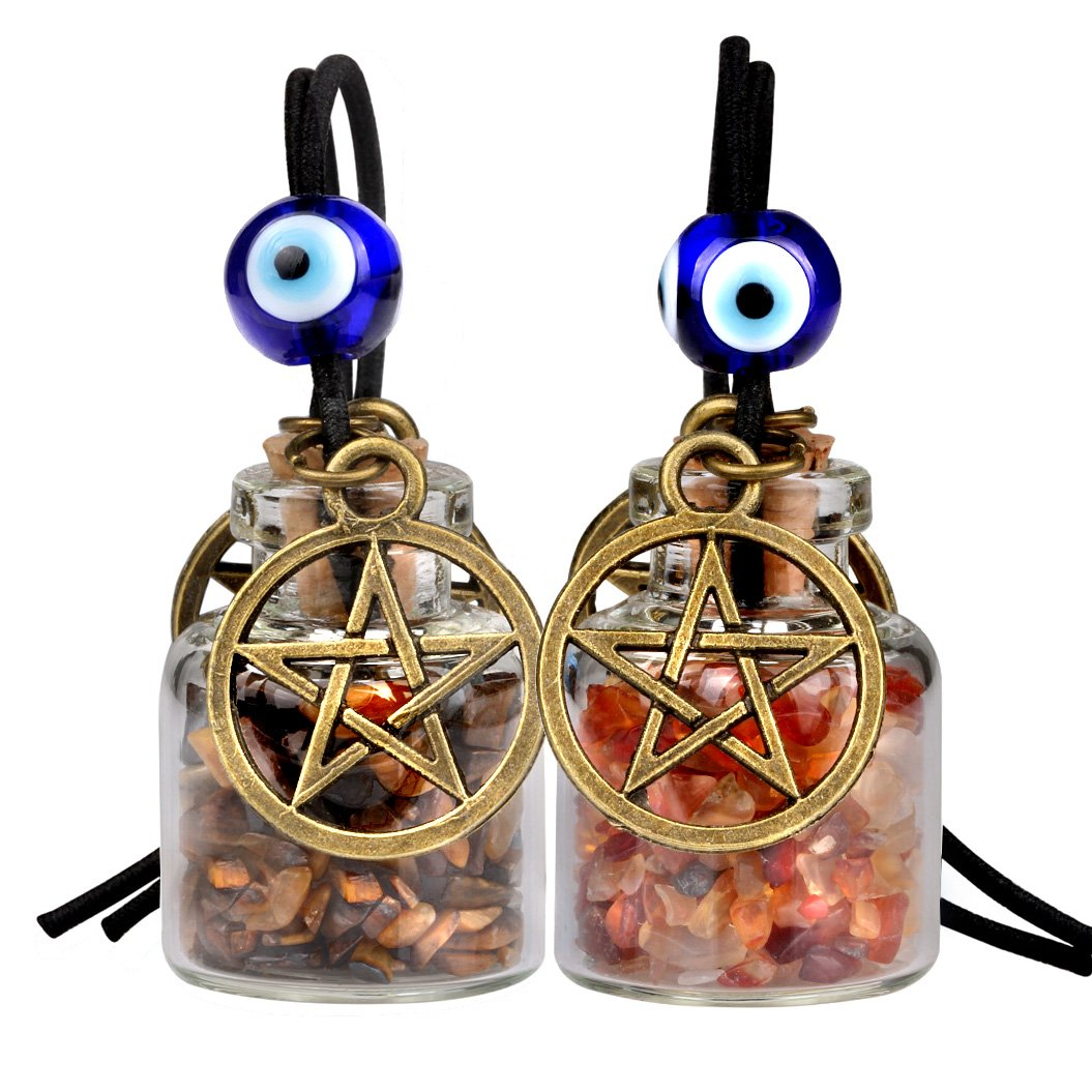 Star Magic Pentacle Small Car Charms Home Decor Gem Bottles Carnelian Tiger Eye Protection Amulets