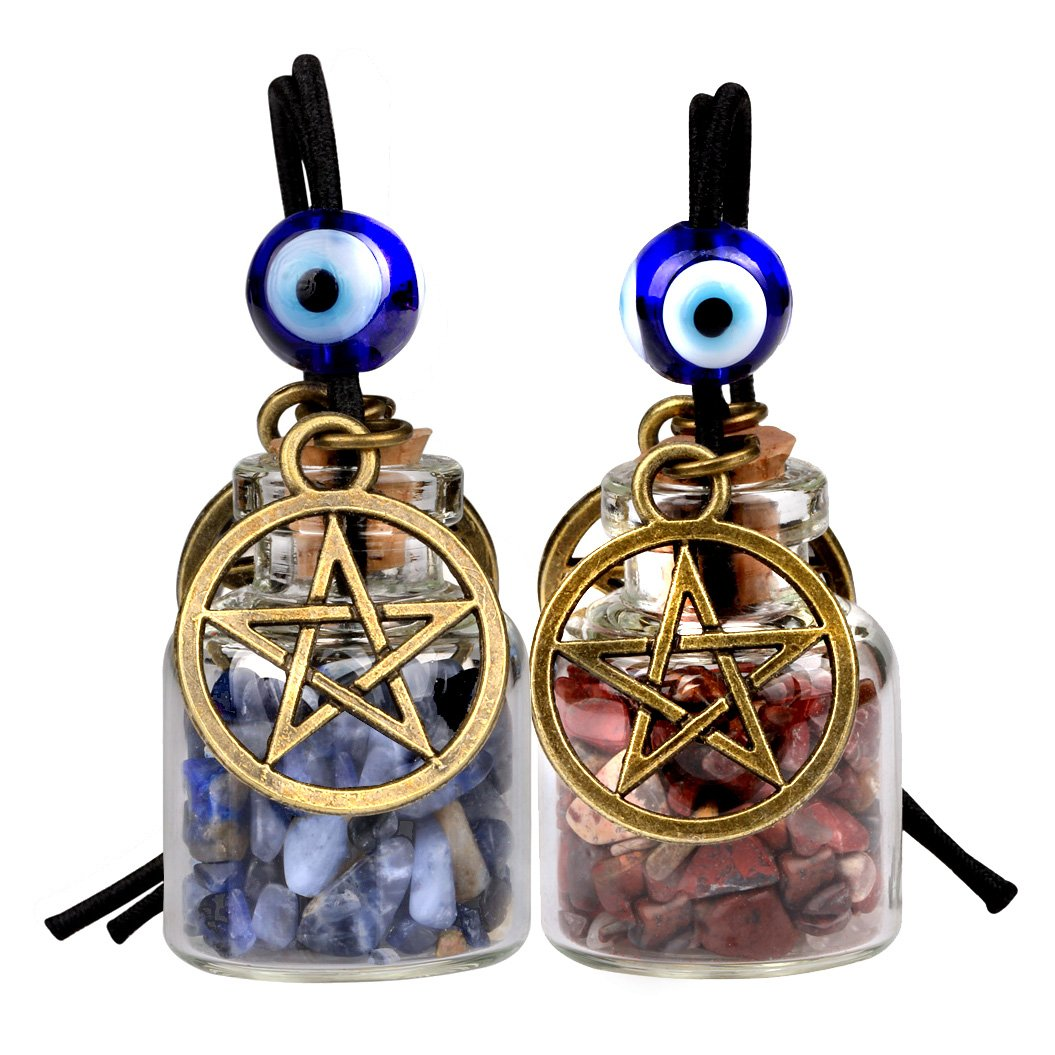 Star Magic Pentacle Small Car Charms Home Decor Gem Bottles Sodalite Jasper Protection Amulets