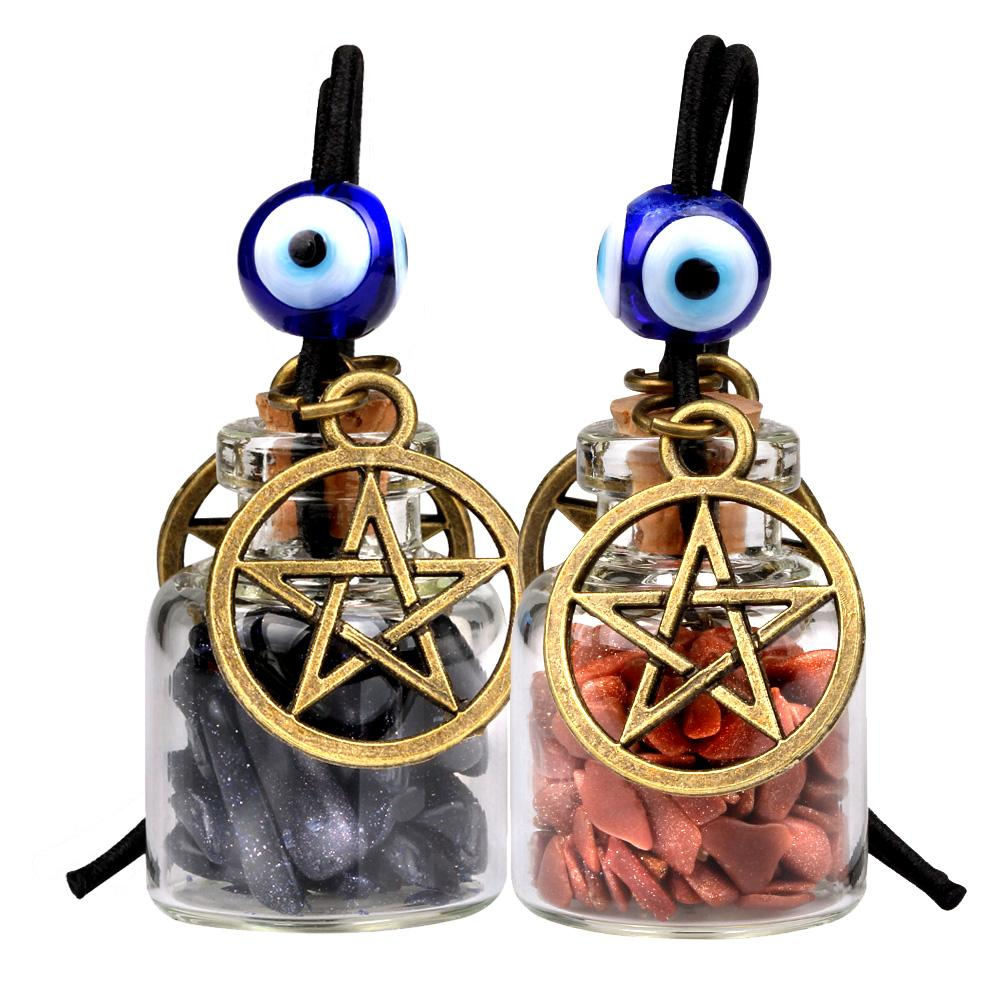 Star Magic Pentacle Small Car Charms Home Decor Gem Bottles Blue Red Goldstone Protection Amulets