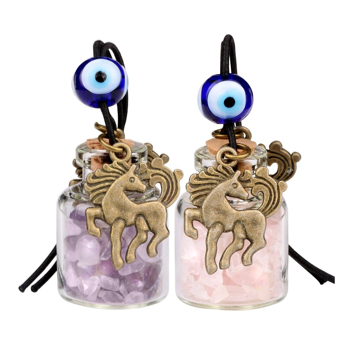Unicorn Small Car Charms or Home Decor Gem Bottles Amethyst and Rose Quartz Protection Amulets