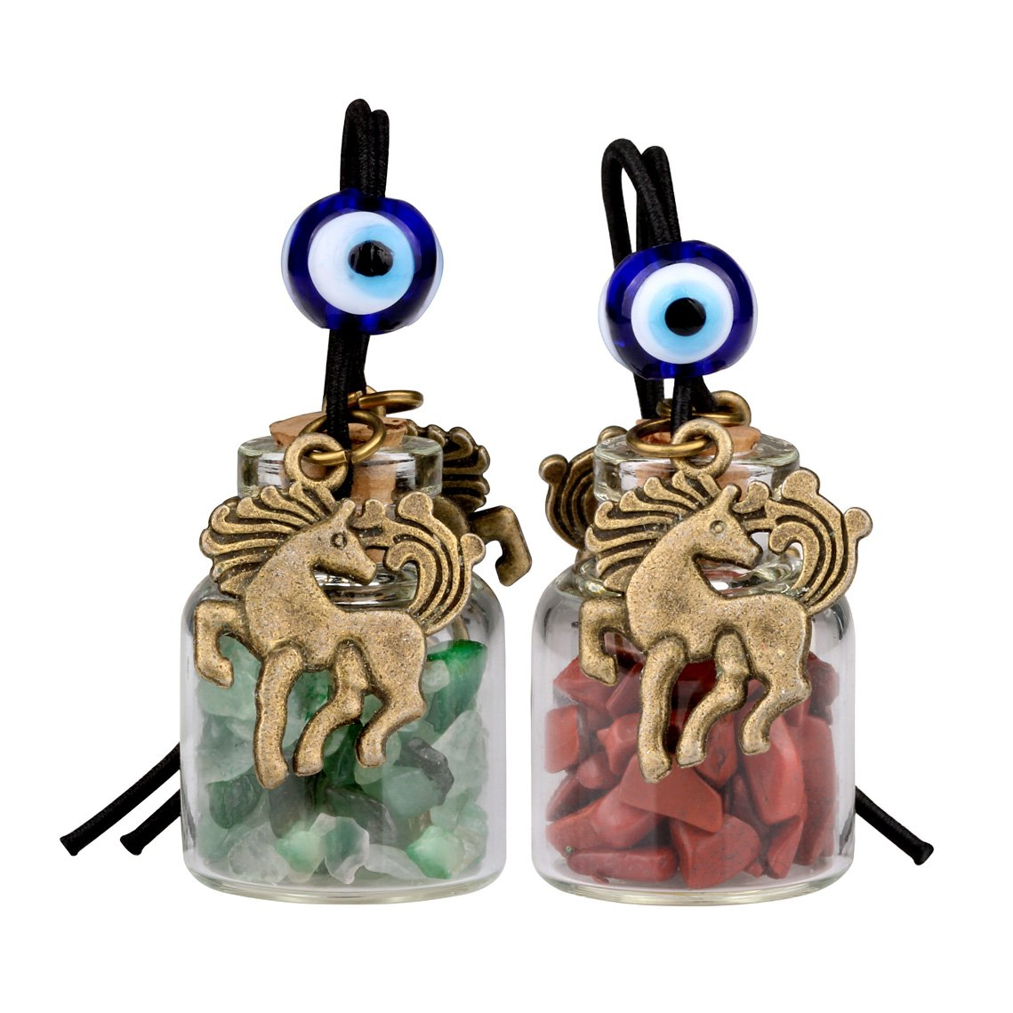 Unicorn Small Car Charms or Home Decor Gem Bottles Green Quartz and Red Jasper Protection Amulets