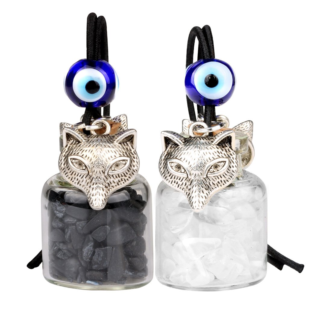 Courage Wolf Small Car Charms Home Decor Bottles Crystal Quartz Black Obsidian Protection Amulets