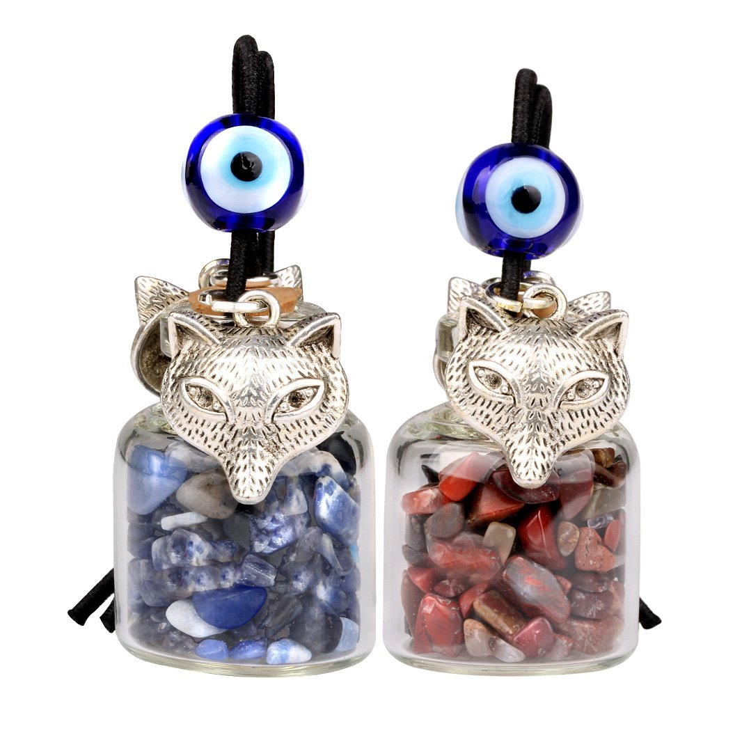 Courage Wolf Small Car Charms Home Decor Gem Bottles Sodalite Brecciated Jasper Protection Amulets