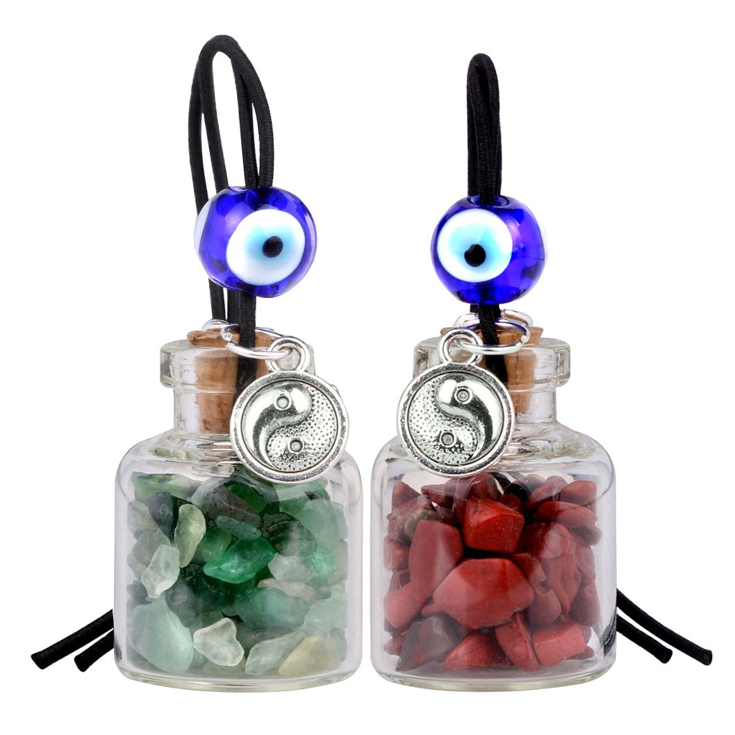 Balance Yin Yang Small Car Charms or Home Decor Bottles Green Quartz Red Jasper Protection Amulets