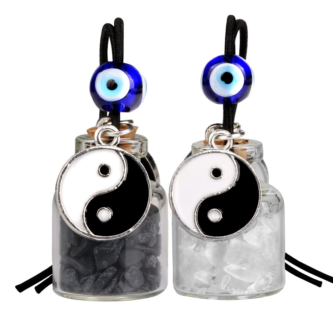 Yin Yang Balance Small Car Charms or Home Decor Bottles Quartz Black Obsidian Protection Amulets
