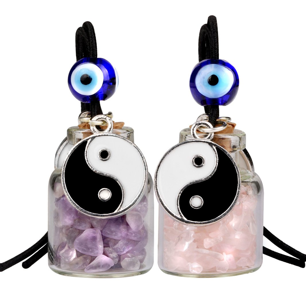 Yin Yang Balance Small Car Charms or Home Decor Gem Bottles Amethyst Rose Quartz Protection Amulets