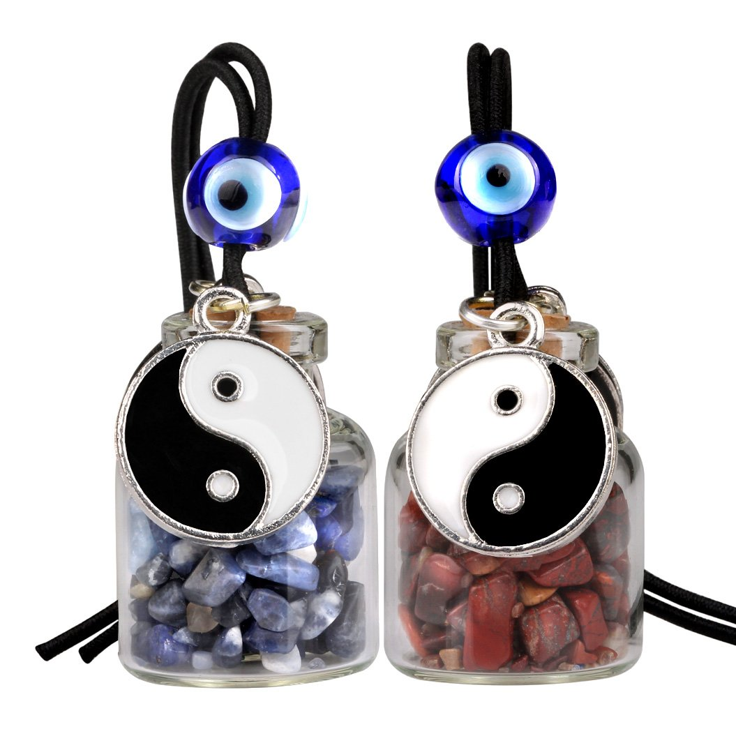 Yin Yang Balance Small Car Charms Home Decor Bottles Sodalite Brecciated Jasper Protection Amulets
