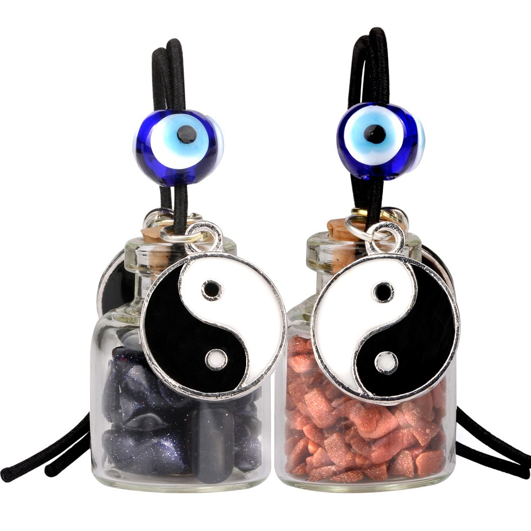 Yin Yang Balance Small Car Charms or Home Decor Gem Bottles Blue Red Goldstone Protection Amulets