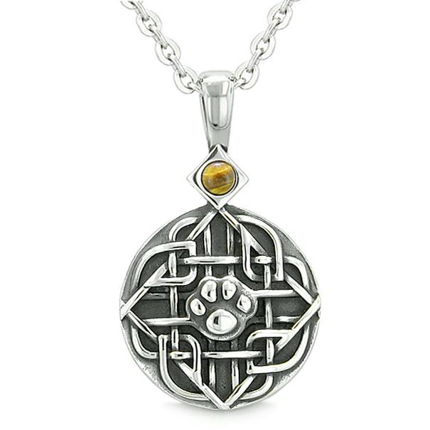 Amulet Celtic Shield Knot Baby Wolf or Cat Paw Tiger Eye Protection Magic Powers Pendant Necklace