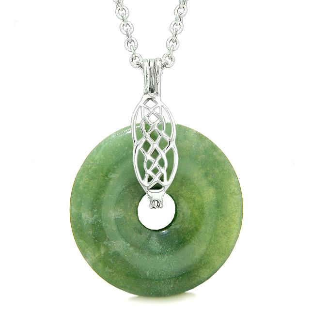 Celtic Shield Knot Protection Magic Powers Amulet Green Agate Lucky Donut Pendant 22 Inch Necklace