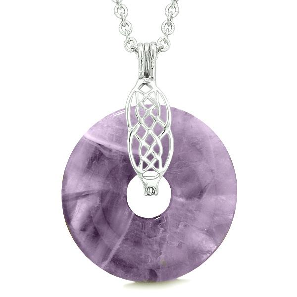 Celtic Shield Knot Protection Magic Powers Amulet Purple Quartz Lucky Donut Pendant Necklace