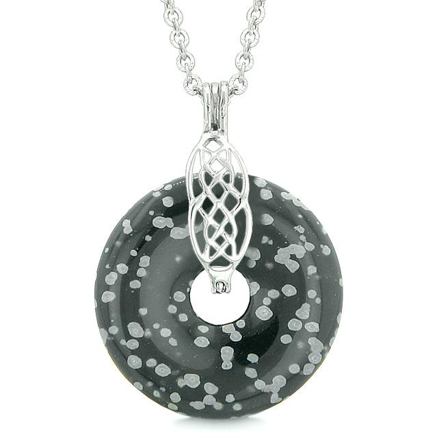 Celtic Shield Knot Protection Magic Powers Amulet Snowflake Obsidian Lucky Donut Pendant Necklace