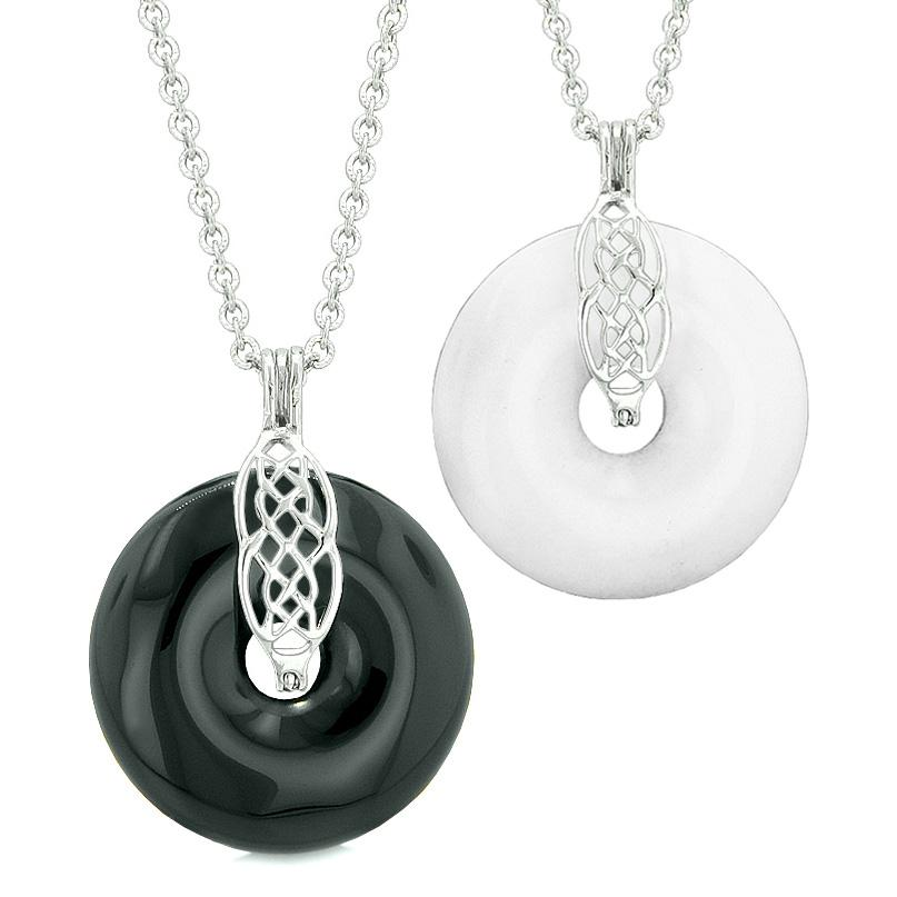 Yin Yang Celtic Shield Knot Amulets Love Couples or Best Friends Black Agate White Quartz Necklaces