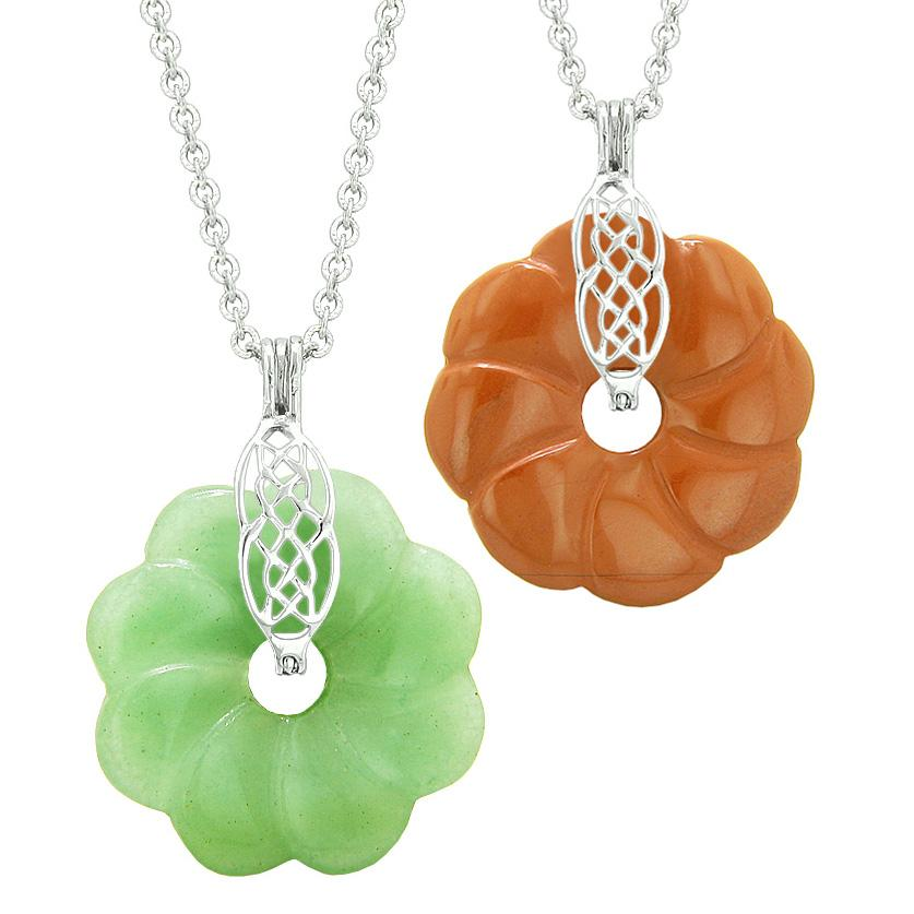 Yin Yang Celtic Shield Knot Flower Amulets Love Couples Best Friends Green Quartz Jasper Necklaces