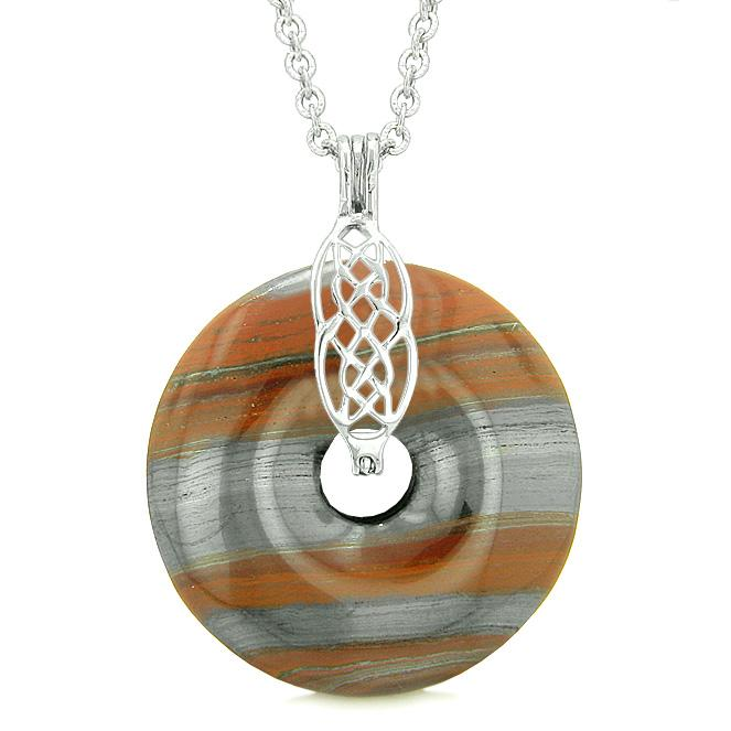 Celtic Shield Knot Protection Powers Amulet Dragon Eye Iron Hematite Lucky Donut Pendant Necklace