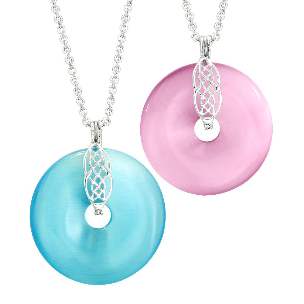 Yin Yang Celtic Shield Knot Large Amulet Couples Best Friend Blue Pink Simulated Cats Eye Necklaces