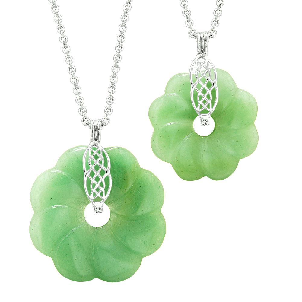 Yin Yang Celtic Shield Knot Large Small Flower Amulet Couples Best Friend Green Quartz Necklaces