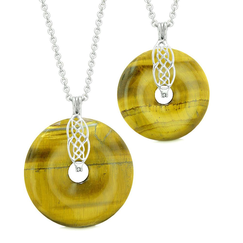 Yin Yang Celtic Shield Knot Large Small Amulets Love Couples or Best Friends Tiger Eye Necklaces