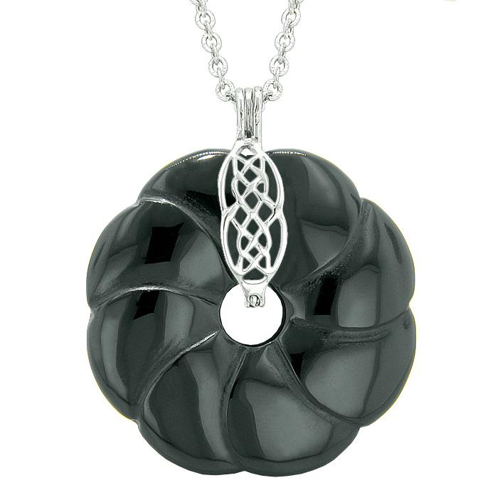 Large Celtic Shield Knot Protection Powers Amulet Black Agate Lucky Flower Donut Pendant Necklace