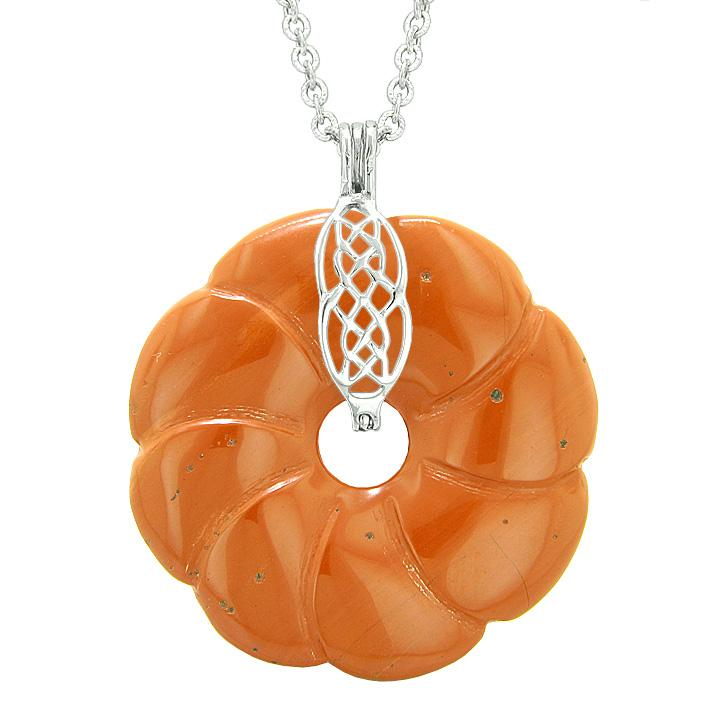 Large Celtic Shield Knot Protection Powers Amulet Red Jasper Lucky Flower Donut Pendant Necklace