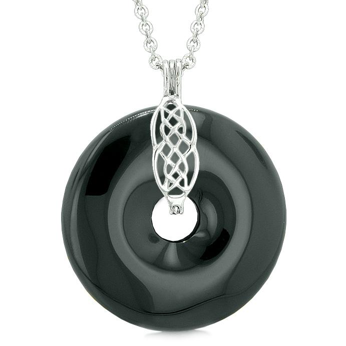 Large Celtic Shield Knot Protection Magic Powers Amulet Black Agate Lucky Donut Pendant Necklace