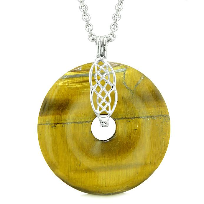 Large Celtic Shield Knot Protection Magic Powers Amulet Tiger Eye Lucky Donut Pendant Necklace