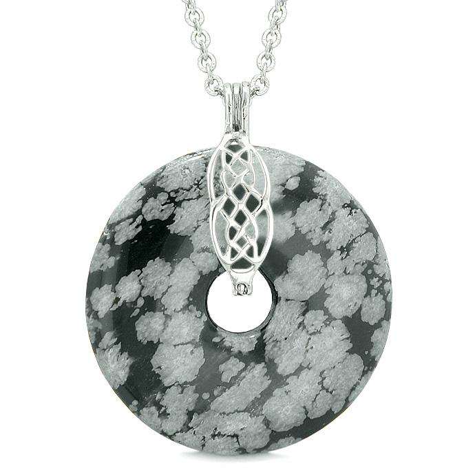 Large Celtic Shield Knot Protection Powers Amulet Snowflake Obsidian Lucky Donut Pendant Necklace