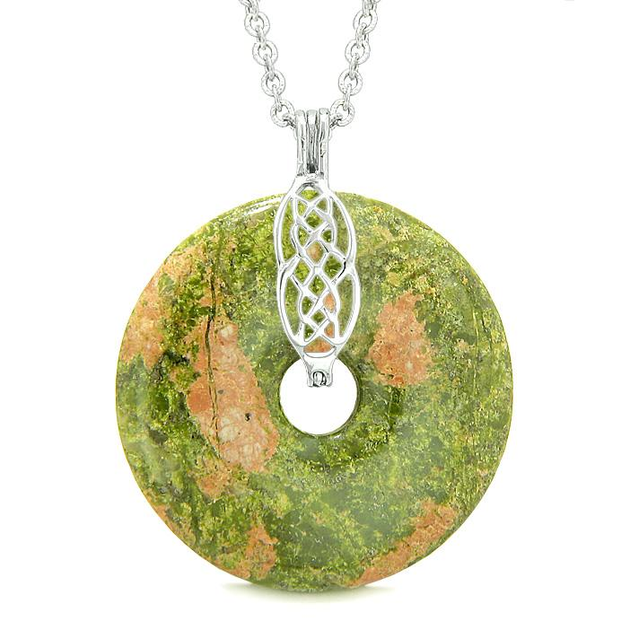 Large Celtic Shield Knot Protection Magic Powers Amulet Unakite Lucky Donut Pendant Necklace