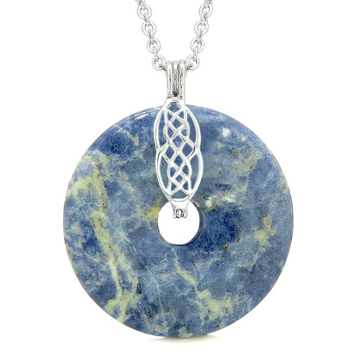Large Celtic Shield Knot Protection Magic Powers Amulet Sodalite Lucky Donut Pendant Necklace