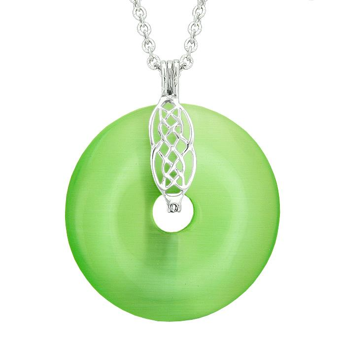 Large Celtic Shield Knot Protection Powers Amulet Green Simulated Cats Eye Donut Pendant Necklace