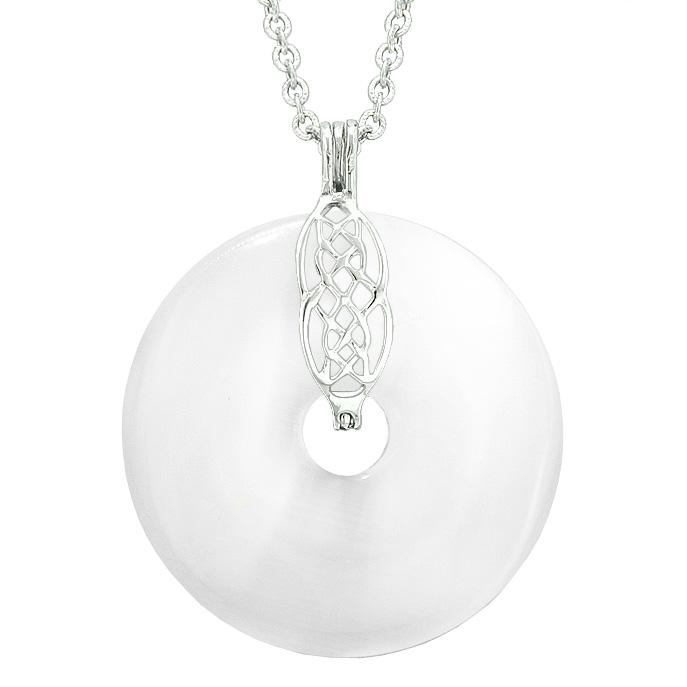 Large Celtic Shield Knot Protection Powers Amulet White Simulated Cats Eye Donut Pendant Necklace