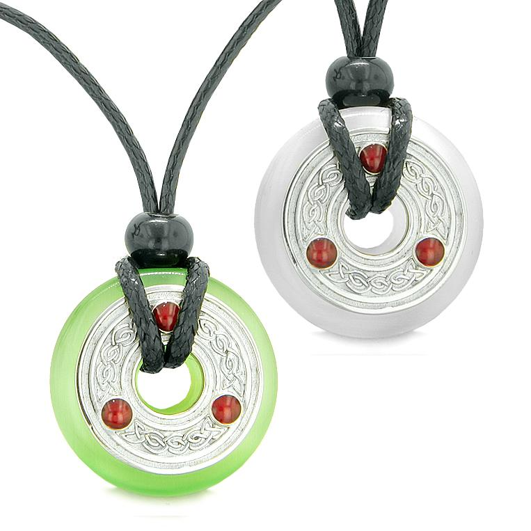Celtic Triquetra Love Couple or Best Friends Coin Donuts Green White Cats Eye Amulet Necklaces