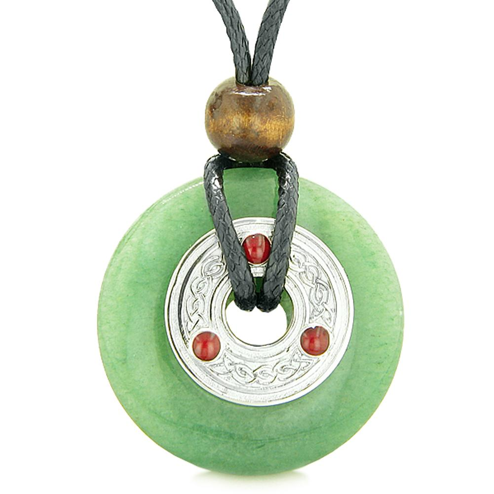 Large Celtic Triquetra Knot Amulet Lucky Coin Donut Charm Green Quartz Magic Pendant Necklace