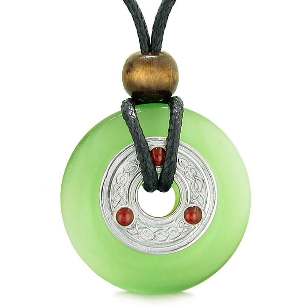 Large Celtic Triquetra Knot Amulet Lucky Coin Donut Charm Green Cats Eye Pendant Necklace
