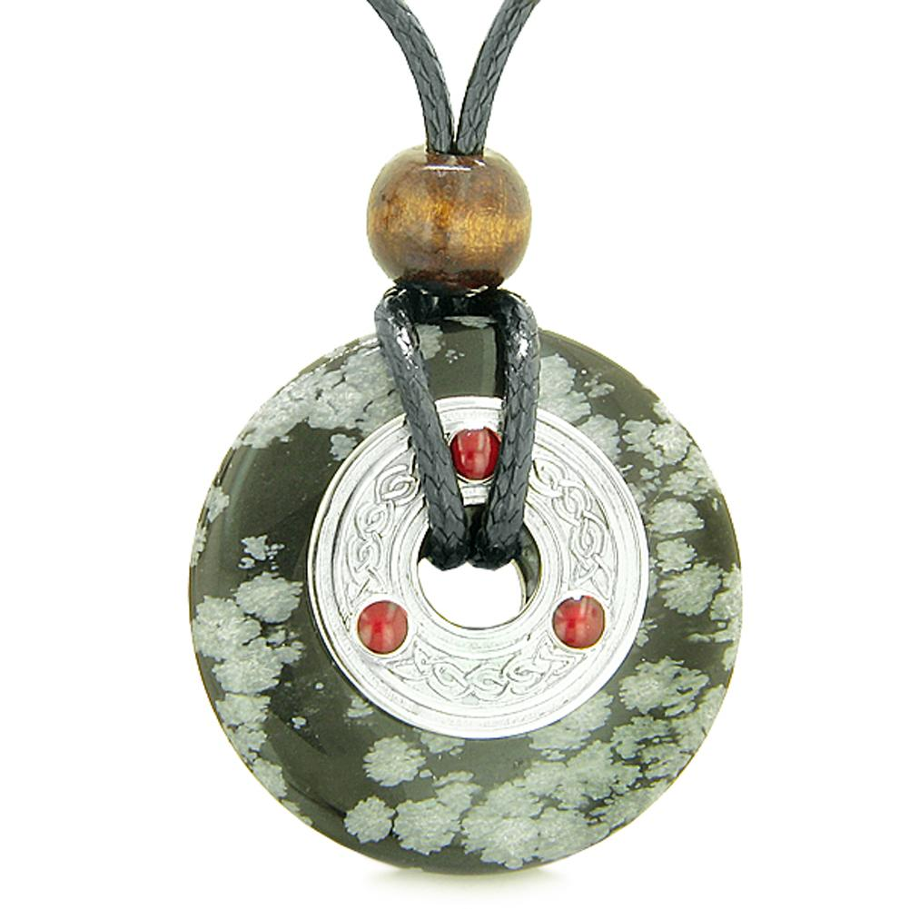 Large Celtic Triquetra Knot Amulet Lucky Coin Donut Charm Snowflake Obsidian Pendant Necklace