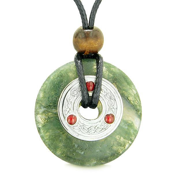Large Celtic Triquetra Knot Amulet Lucky Coin Donut Charm Green Moss Agate Pendant Necklace