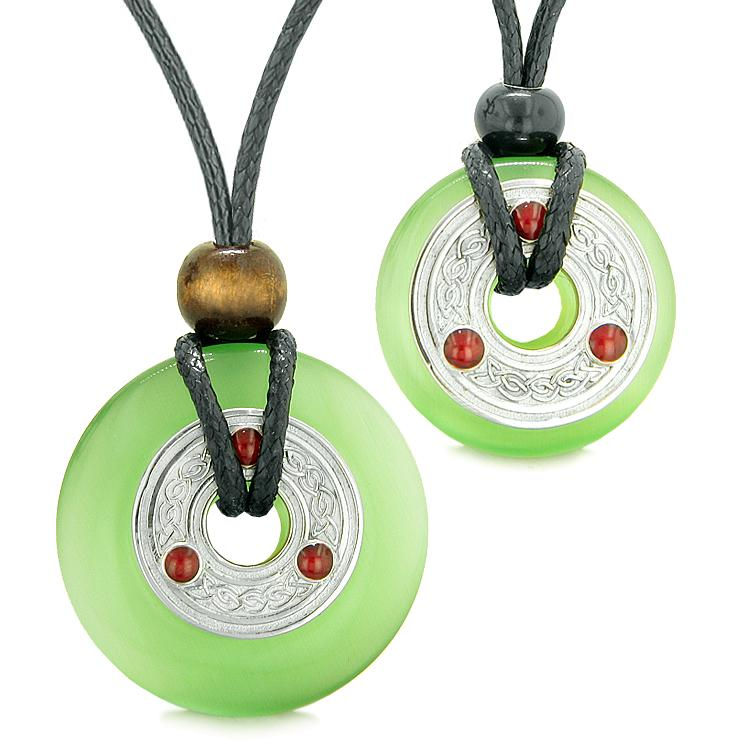 Large Small Celtic Triquetra Knot Amulets Love Couples Yin Yang Powers Green Cats Eye Necklaces