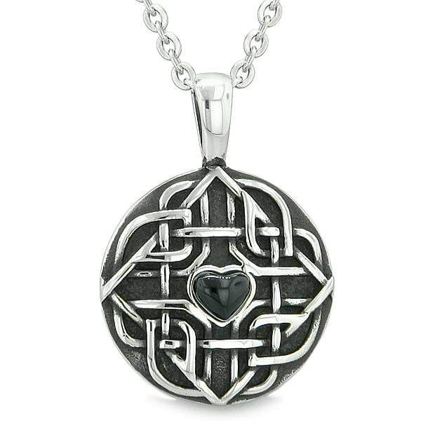 """Amulet Celtic Shield Knot Magic Heart and Protection Powers Simulated Onyx Pendant 22"""" Necklace"""