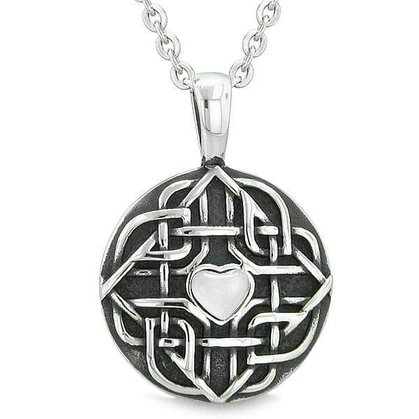 "Amulet Celtic Shield Knot Magic Heart and Protection Powers White Cats Eye Pendant 22"" Necklace"