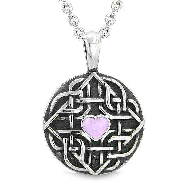 Amulet Celtic Shield Knot Magic Heart Protection Purple Simulated Cats Eye Pendant 18 Inch Necklace